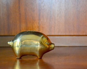 vintage brass piggy bank / farmhouse decor / rustic home decor / barnyard animal