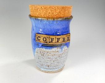 Pottery coffee jar, ceramic coffee jar, ceramic kitchen storage jar, stoneware coffee jar with cork lid, pottery COFFEE canister, blue glaze