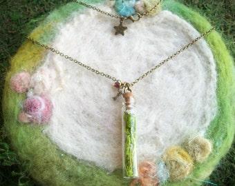 Real Moss Necklace, Woodland Moss Terrarium Vial Necklace, Secret Garden