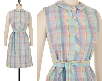1960s Vintage Plaid Pastel Mod Dress M Medium L Large Pantone Collar House