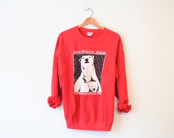 Vintage San Diego Zoo Polar Bear Screen Print Sweatshirt