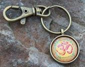 Keychain with Swivel clip, Bohemian keychain, Hippie key ring, OM Kaleidoscope, yoga mat bag clip, cabochon keychain,