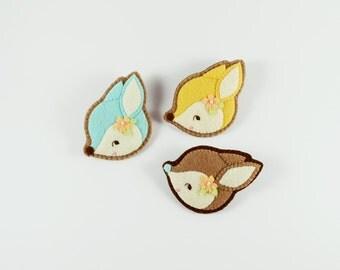 Fawn Brooch / Cute Felt Fawn Brooch / Felt Deer Brooch / Whimsical Deer Felt Brooch / Candy Fawn Pin / Candy Deer Pin / Deer Felt Pin
