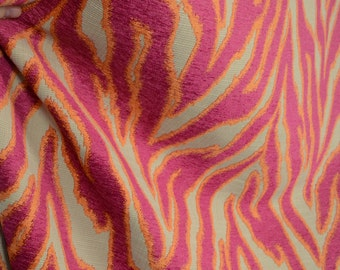 Katniss Hibiscus Red Orange Tiger Upholstery Fabric