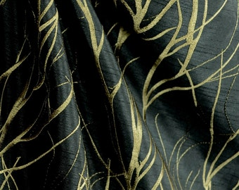 Grove Night Embroidered Floral Branches Poly Drapery Fabric