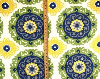 Blue, Yellow & Green Suzani Fabric Microfibres Hanan Bluebird