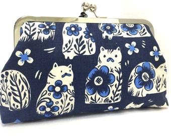 clutch purse - willow cat - 8 inch metal frame purse -  blue  - cats- floral  - purse - clutch  - kisslock - clutch bag - coin purse