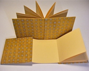 Handmade concertina pocketbook - yellow dots