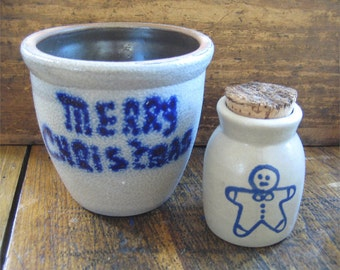 Two Beaumont Brothers Pottery BBP Salt Glaze Pieces Christmas & Gingerbread Man Jar