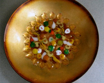 Vintage Signed Mimi Ross Enamel on Copper Handmade Dish Yellow Leaves