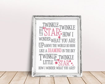 Twinkle twinkle little star, how I wonder what you are – 8×10 Lullaby Art Print, Nursery Print, Child Print, Nursery Decor, Lullaby Print
