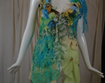 Charlotte top-jacket, Art to wear Floral Garden Inspired Tattered Tribal Boho Cinderella Style