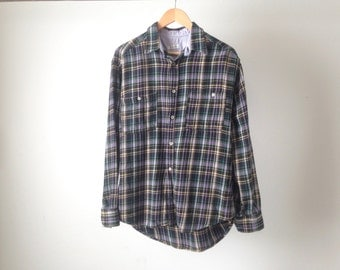 BENNETON faded vintage MEN'S FLANNEL twin peaks 90s nirvana shirt