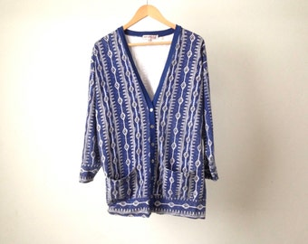 vintage SOUTHWEST multicolor cardigan button up TRIANGLE think knit CARDIGAN sweater