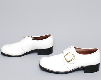mens size 8 1/2 BUCKLE white leather 80s BEATLE ankle boots made in USA