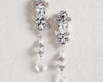 NAYA- Swarovski Bridal Earrings- Crystal Drop Earrings- Bridal Earrings- Crystal Earrings- Chandelier Bridal Earrings