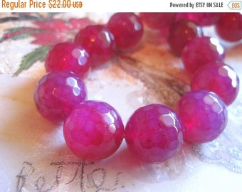 "20% OFF ON SALE 16"" long (20pcs) Pink Agate Faceted Round 20mm Beads, Gemstone Beads"