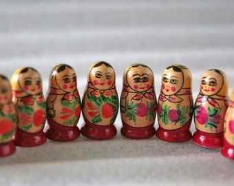 Soviet / Russian MATRYOSHKA -10 Tiny Little Vintage Hand Painted Wooden Babushka Doll - from USSR / Russia / Soviet Union
