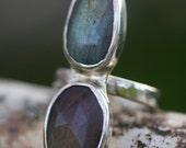 Rosecut Labradorite Sterling Silver Ring Size 7.5