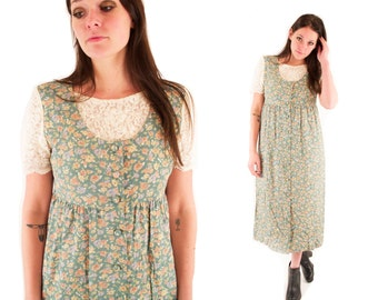 MAGGIE 80s Sweet Sage Green Floral Two Tone Lace Built In Babydoll Folk Grunge Rustic Jumper Maxi Dress Small S
