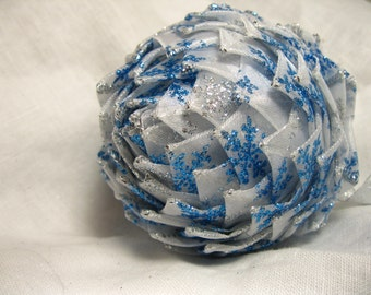 unique silver and blue snowflake keepsake ornament, Christmas Ornaments