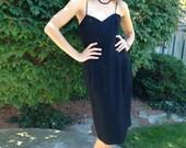 vintage black dress / spaghetti straps/ disco party / 1970s 70s