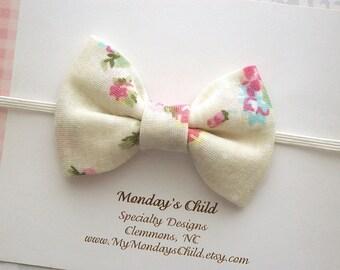 Ivory Baby Bow, Baby Headband, Ivory Bow Headband, Baby Bow Headband, Baby Bows, Toddler Headband, Toddler Bow, Newborn Headband