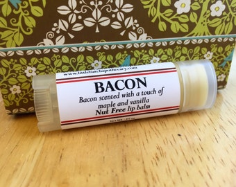 Bacon lip balm, bacon lip butter, bacon lip gloss, unusual lip balm, maple, vanilla, nut free lip balm