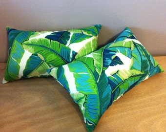 Two Decorative Indoor Outdoor Palm Tree Leaf Lumbar Pillows