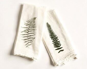 Wild Fern Flour Sack Cotton Napkins : Set of 4 Cloth Napkins