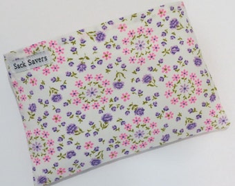 Reusable Sandwich And Or Snack Bag Vintage Floral Eco Friendly Reusable Bag