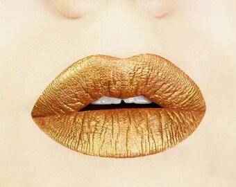 Gold Digger Metallic Matte Liquid Lips. Liquid to Matte. Makeup. Cosmetics. Yellow. Glittery. Vegan. Cruelty-free. Lip Gloss. Gift for Her
