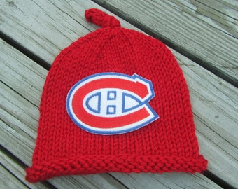 MONTREAL CANADIENS Baby Hat, Knit Baby Hat, Hockey Baby Hat, Baby Sports Hat, Hand Knitted Baby Hat, Baby Photo Prop Hat, Knitted Baby Hat