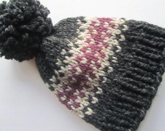 Grey Fair Isle Knit Hat, Fair Isle Hat, Knit Hat, Women's Knit Hat, Men's Knit Hat, Hand Knit Hat, Knit Hat, Chunky Knit Hat