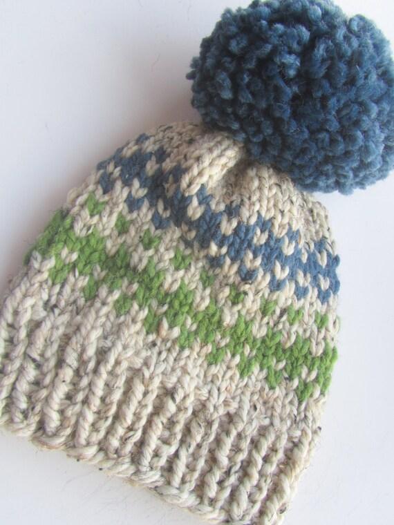 Fair Isle Hat Knit Hat Women's Knit Hat Pom Pom Hat
