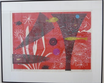 """EMMY LOU PACKARD Woodblock Linocut Print """"Coral Fantasy in Red"""" 28""""x21"""" Signed"""
