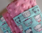 Baby Girl Hot Pink Aqua Panda and Pink Minky, XLARGE Snuggle Size Baby Blanket