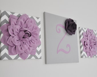 Purple Decor Flower Wall Art Purple Home Decor Embellished Initial Canvas Wall Art Canvases Flower Nursery Room Decor Purple Bouquet Set