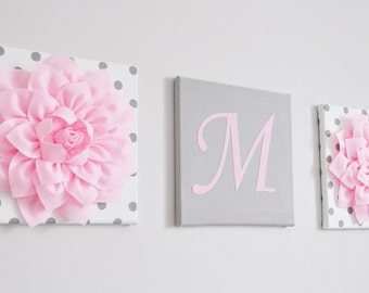 nursery initial decor light pink and grey nursery letters wall hanging letter and flower set baby girl decor personalized home decor