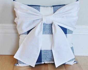 Buffalo Check Bow Pillow, Plaid Pillow, Decorative Bow Pillow Cushions, Navy Throw Pillow, Country Decor, Rustic Decor, Nursery Decor