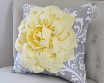 Pillow Covers - Yellow Flower Damask Pillows - Yellow Decorative Throw Pillow - Yellow Cushion Cover - Light Yellow and Gray Accent Pillow