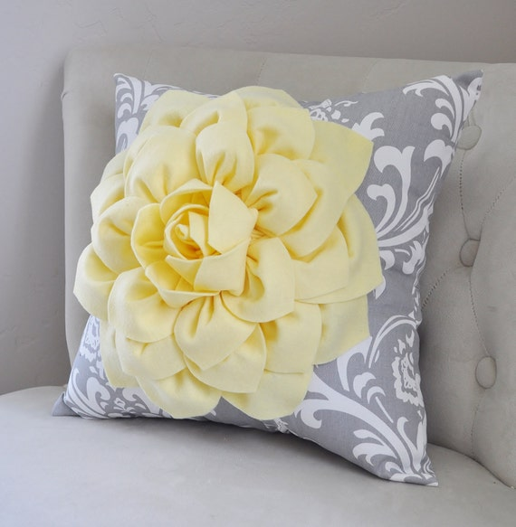 Yellow Decorative Throw Pillow Pillow Covers Yellow Flower