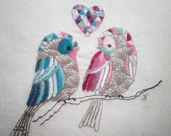 Two little birds. Embroidery Art - Handmade Textile Art - Hand Stitched Embroidery.  Original hand embroidered