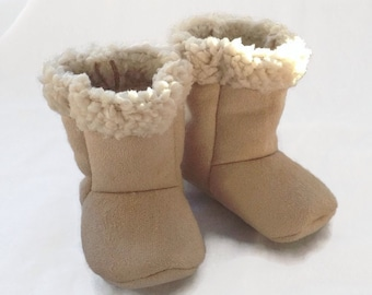 Baby Suede and Sherpa Boots, Light Tan Suede with Sherpa / Newborn boots / Infant boots / Toddler boots