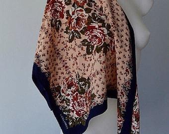 Vintage Laura Ashley Silk Scarf, Vintage Silk Scarf, 1980s Silk Scarf, Floral Silk Scarf, Laura Ashley