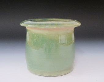 Small French butter dish / handmade / pottery / butter bell / butter keeper / green / ceramaic butter dish