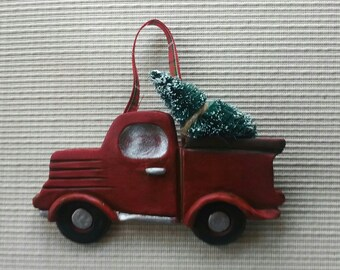 Little Red Truck ~  hand built polymer clay ornament