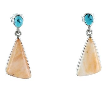 Jewelry Clearance Kingman Turquoise Spiny Oyster Sterling Earrings #2