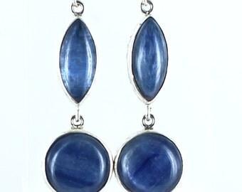 Kyanite Earrings Sterling Silver Large 2 Stone