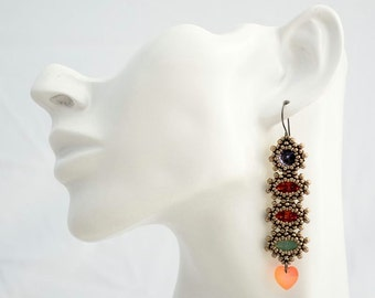 Stacked Earrings with Heart